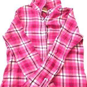 Pink plaid button shirt